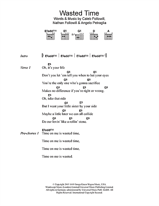 Download Kings Of Leon Wasted Time sheet music and printable PDF score & Rock music notes