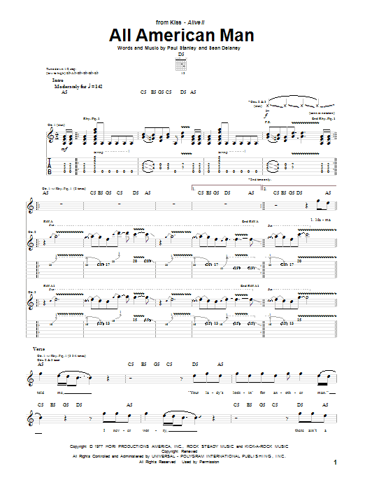 Download KISS All American Man sheet music and printable PDF score & Pop music notes