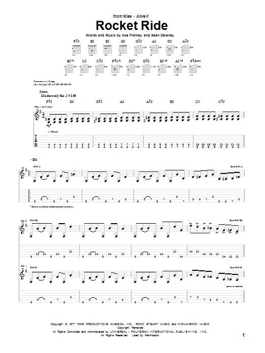Download KISS Rocket Ride sheet music and printable PDF score & Pop music notes