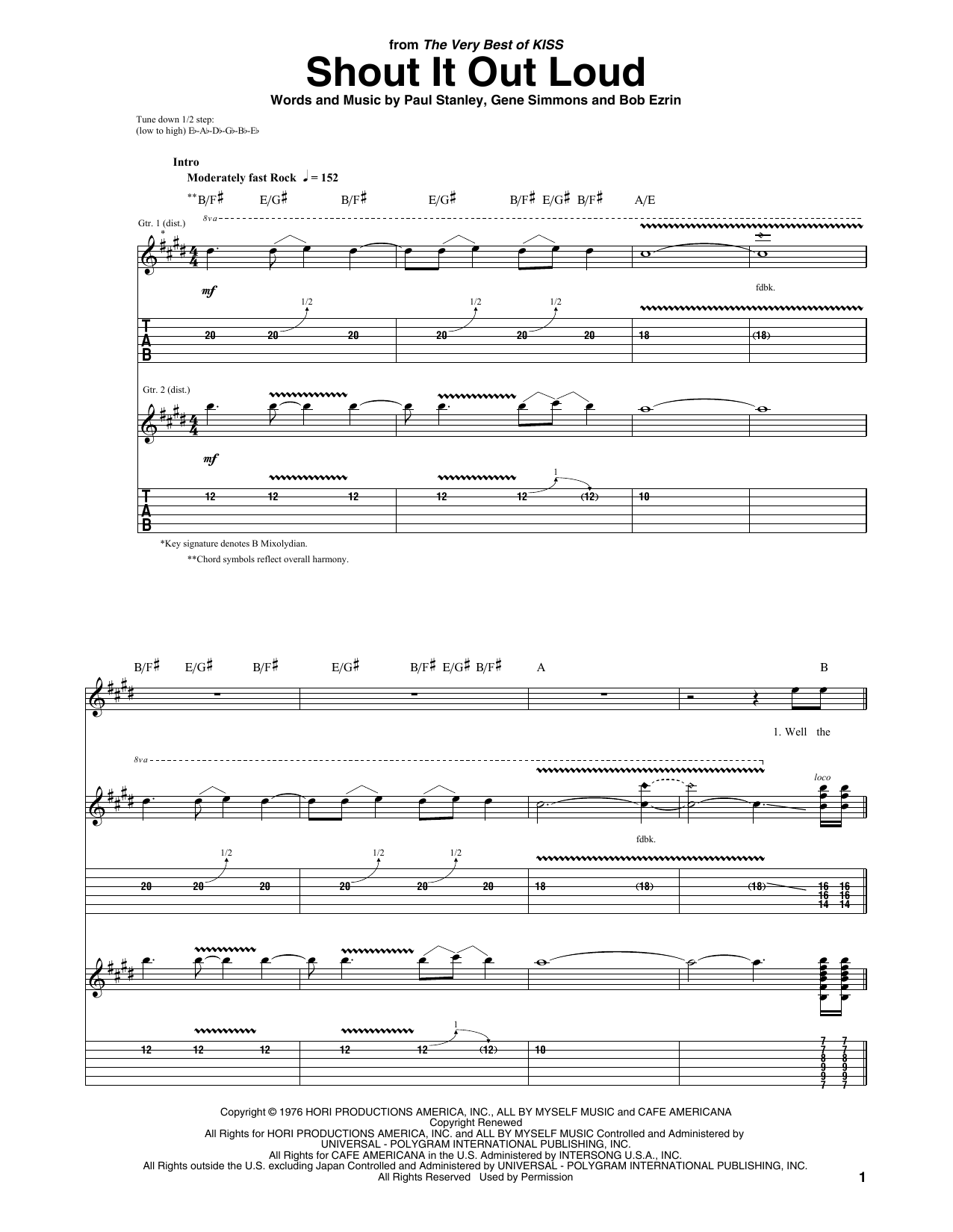 Download KISS Shout It Out Loud sheet music and printable PDF score & Pop music notes