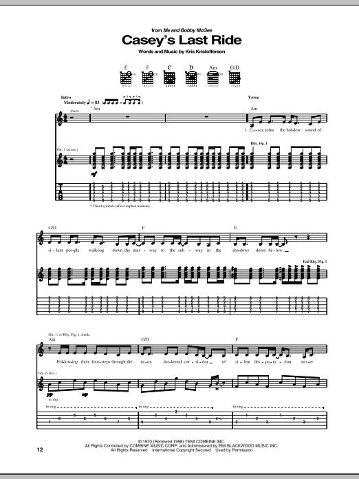Download Kris Kristofferson Casey's Last Ride sheet music and printable PDF score & Pop music notes