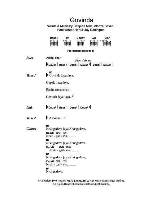 Download Kula Shaker Govinda sheet music and printable PDF score & Rock music notes