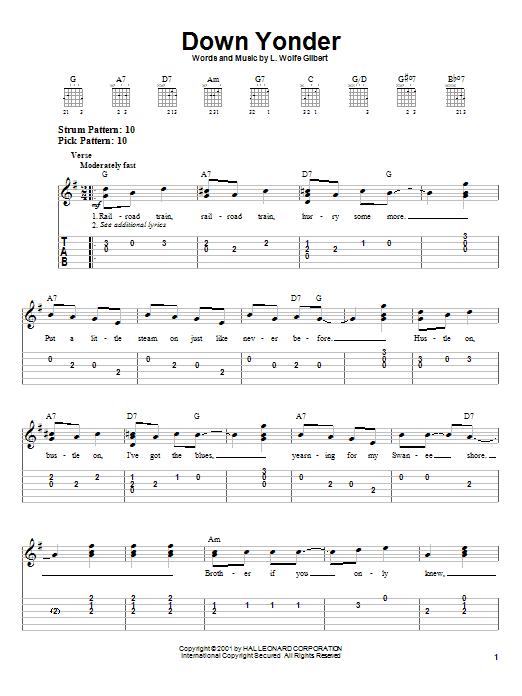 Download L. Wolfe Gilbert Down Yonder sheet music and printable PDF score & Jazz music notes