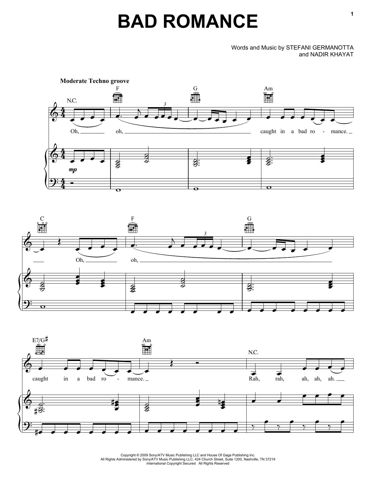 Download Lady Gaga Bad Romance sheet music and printable PDF score & Pop music notes