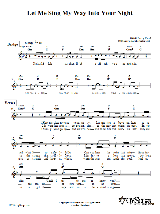 Download Larry Karol Let Me Sing My Way Into Your Night sheet music and printable PDF score & Religious music notes