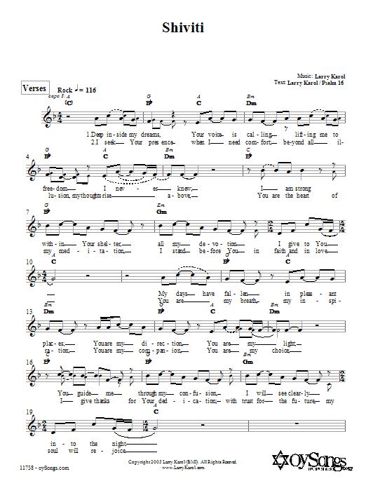 Download Larry Karol Shiviti sheet music and printable PDF score & Religious music notes