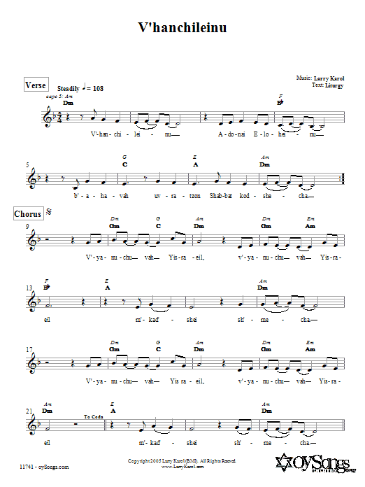 Download Larry Karol V'hanchileinu sheet music and printable PDF score & Religious music notes