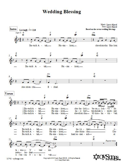 Download Larry Karol Wedding Blessing sheet music and printable PDF score & Religious music notes
