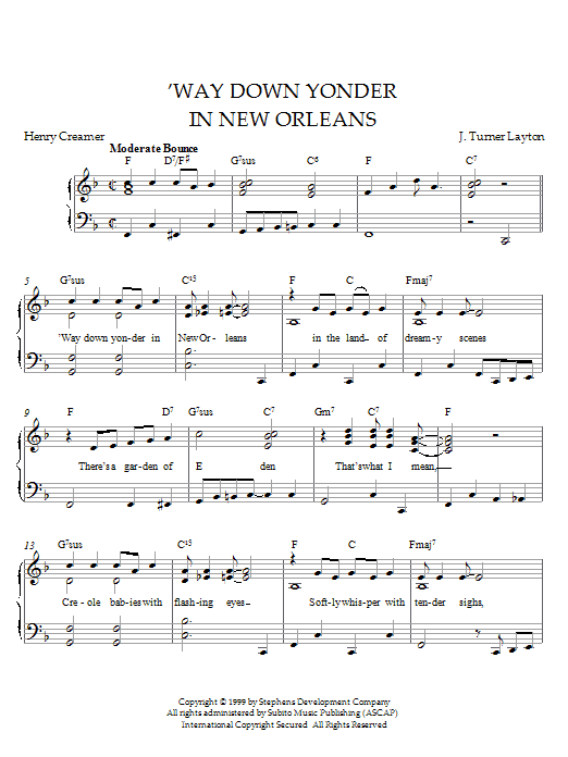 Download Louis Armstrong Way Down Yonder In New Orleans sheet music and printable PDF score & Pop music notes