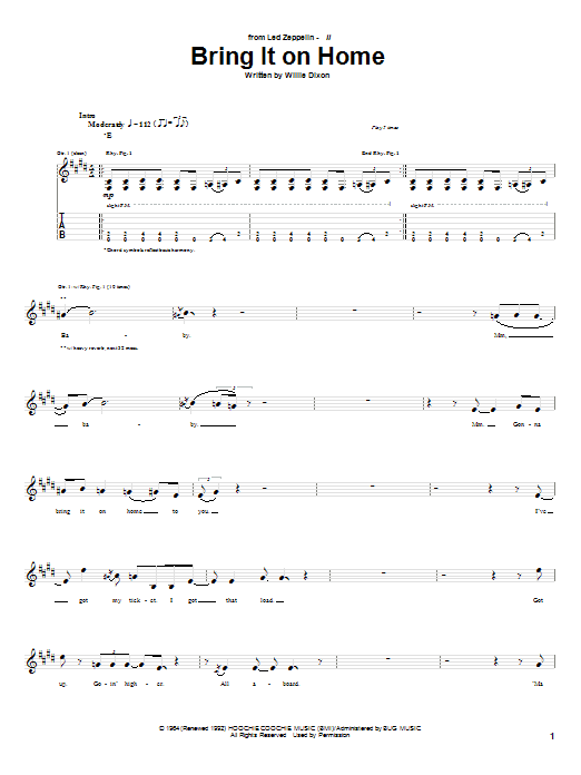 Download Led Zeppelin Bring It On Home sheet music and printable PDF score & Pop music notes