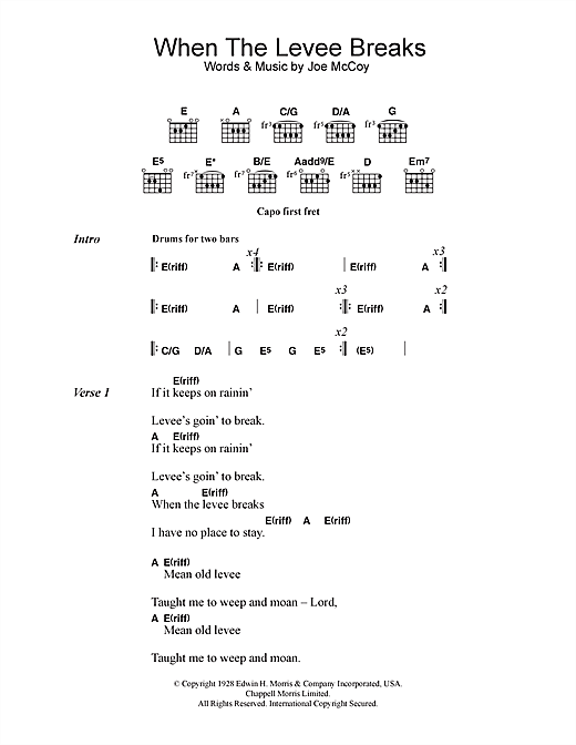 Download Led Zeppelin When The Levee Breaks sheet music and printable PDF score & Rock music notes