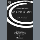 Lee R. Kesselman As One Is One Sheet Music and PDF music score - SKU 71417