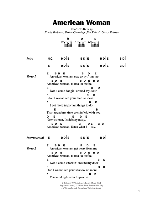 Download Lenny Kravitz American Woman sheet music and printable PDF score & Rock music notes