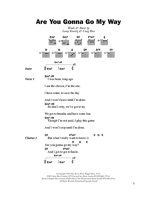Download Lenny Kravitz Are You Gonna Go My Way sheet music and printable PDF score & Rock music notes