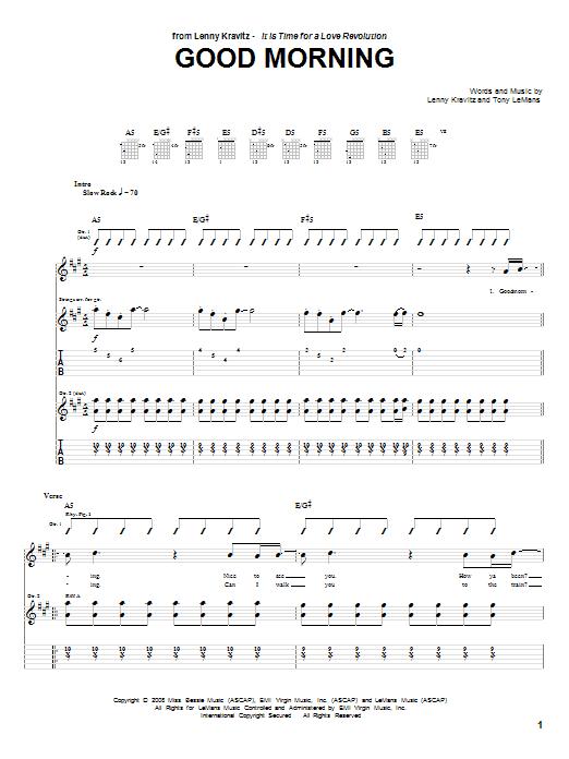 Download Lenny Kravitz Good Morning sheet music and printable PDF score & Rock music notes