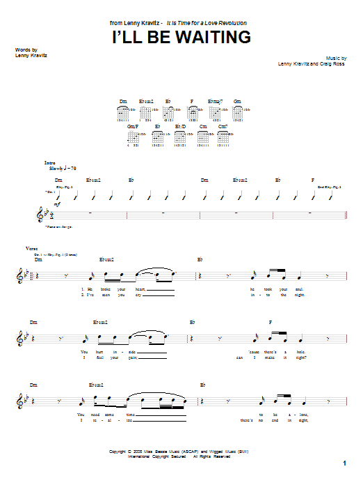 Download Lenny Kravitz I'll Be Waiting sheet music and printable PDF score & Pop music notes