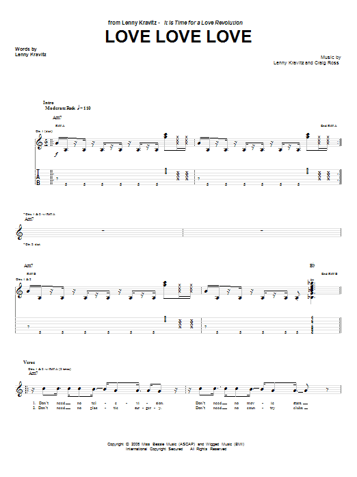 Download Lenny Kravitz Love Love Love sheet music and printable PDF score & Rock music notes