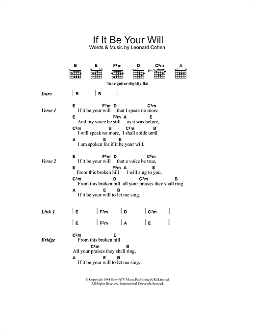 Download Leonard Cohen If It Be Your Will sheet music and printable PDF score & Rock music notes