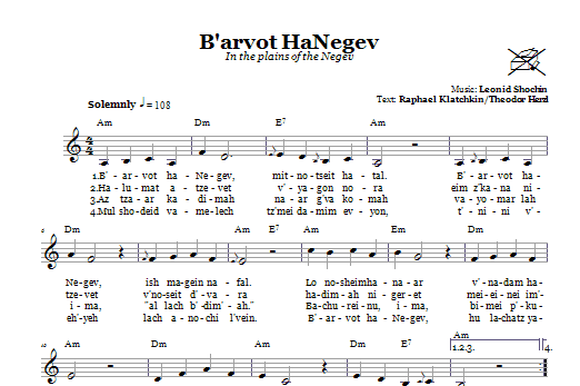 Download Leonid Schochin B'arvot HaNegev (In The Plains Of The Negev) sheet music and printable PDF score & Religious music notes