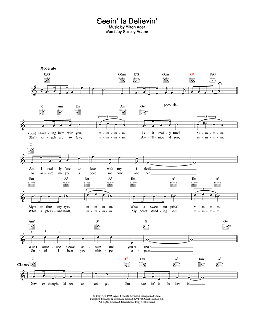 Download Lew Stone Seein' Is Believin' sheet music and printable PDF score & Easy Listening music notes