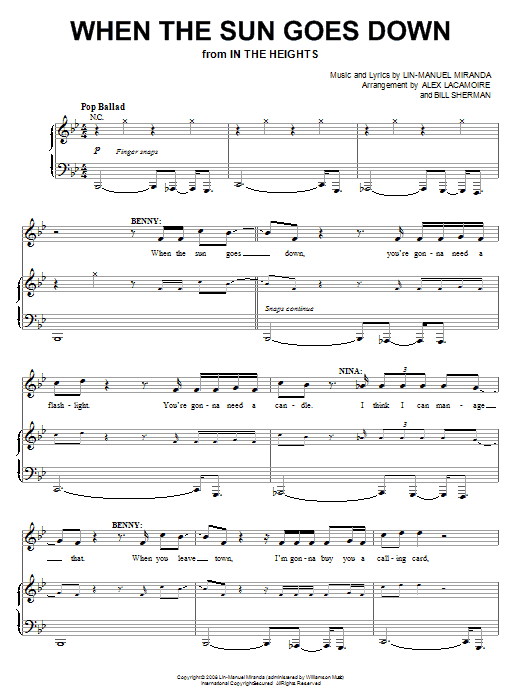 Download Lin-Manuel Miranda When The Sun Goes Down (from In The Heights: The Musical) sheet music and printable PDF score & Broadway music notes