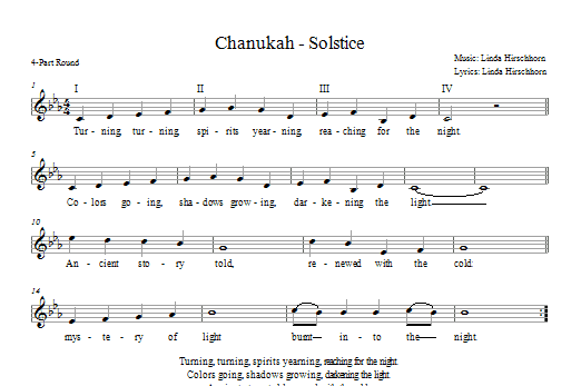 Download Linda Hirschhorn Chanukah - Solstice sheet music and printable PDF score & Religious music notes