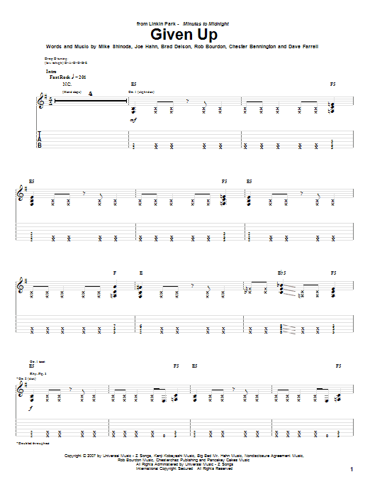 Download Linkin Park Given Up sheet music and printable PDF score & Pop music notes