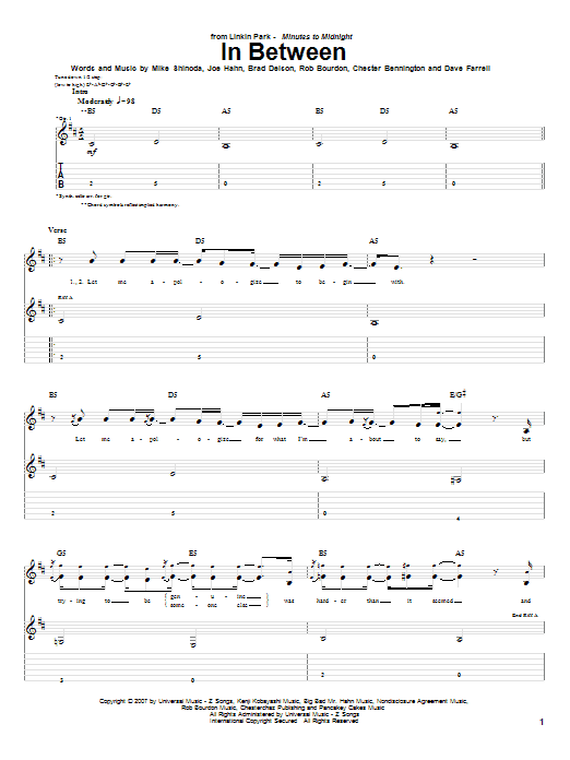 Download Linkin Park In Between sheet music and printable PDF score & Pop music notes