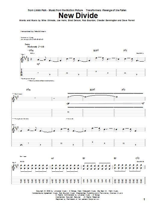 Download Linkin Park New Divide sheet music and printable PDF score & Metal music notes
