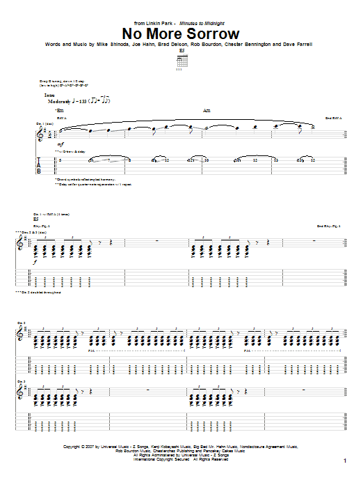 Download Linkin Park No More Sorrow sheet music and printable PDF score & Pop music notes