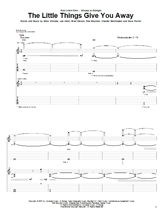 Download Linkin Park The Little Things Give You Away sheet music and printable PDF score & Pop music notes