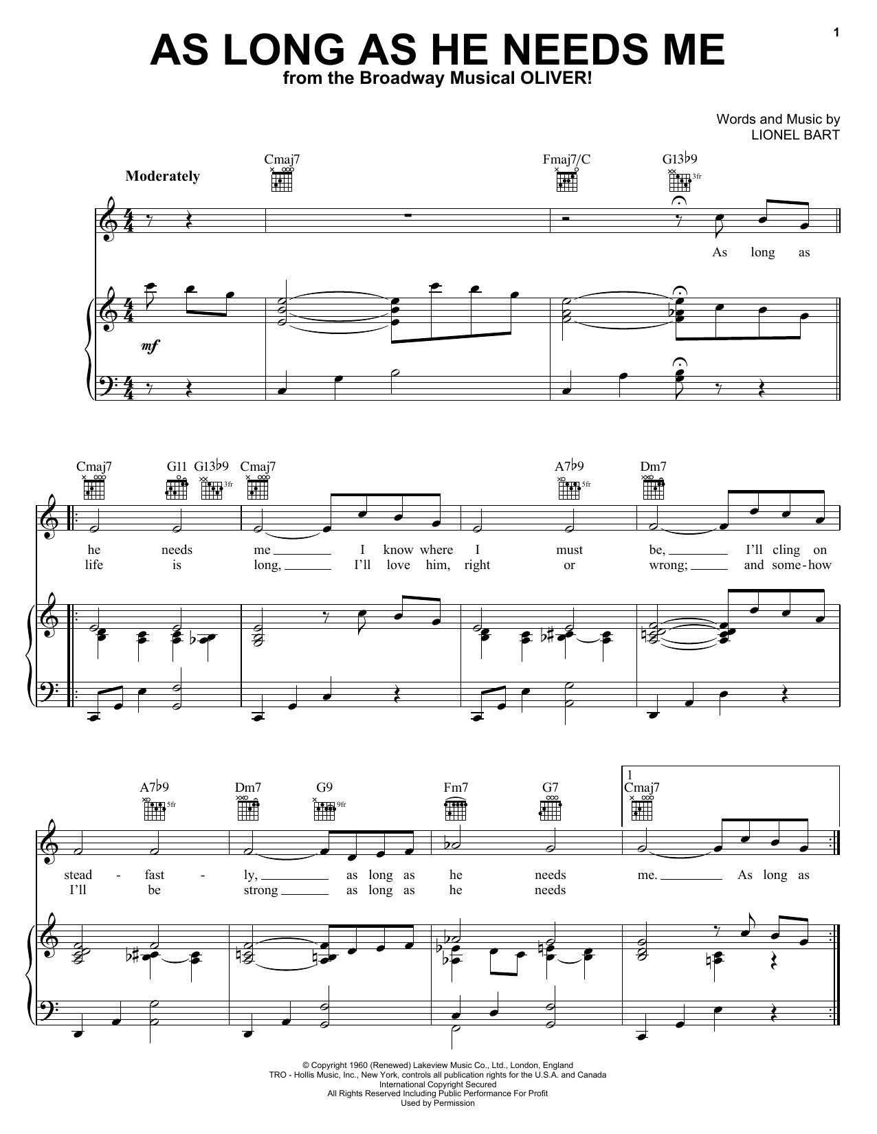 Download Lionel Bart As Long As He Needs Me (from Oliver!) sheet music and printable PDF score & Musicals music notes