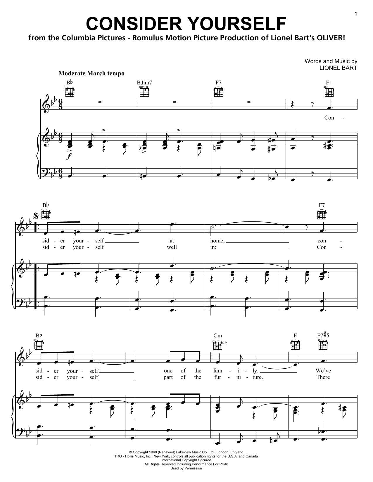 Download Lionel Bart Consider Yourself sheet music and printable PDF score & Musicals music notes