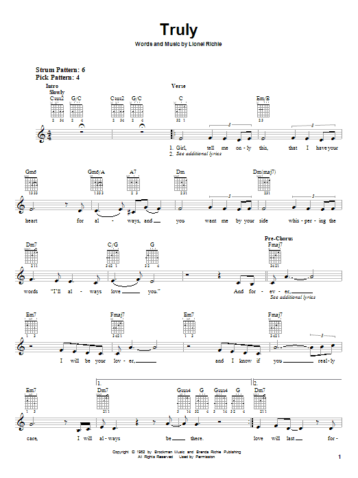 Download Lionel Richie Truly sheet music and printable PDF score & Pop music notes