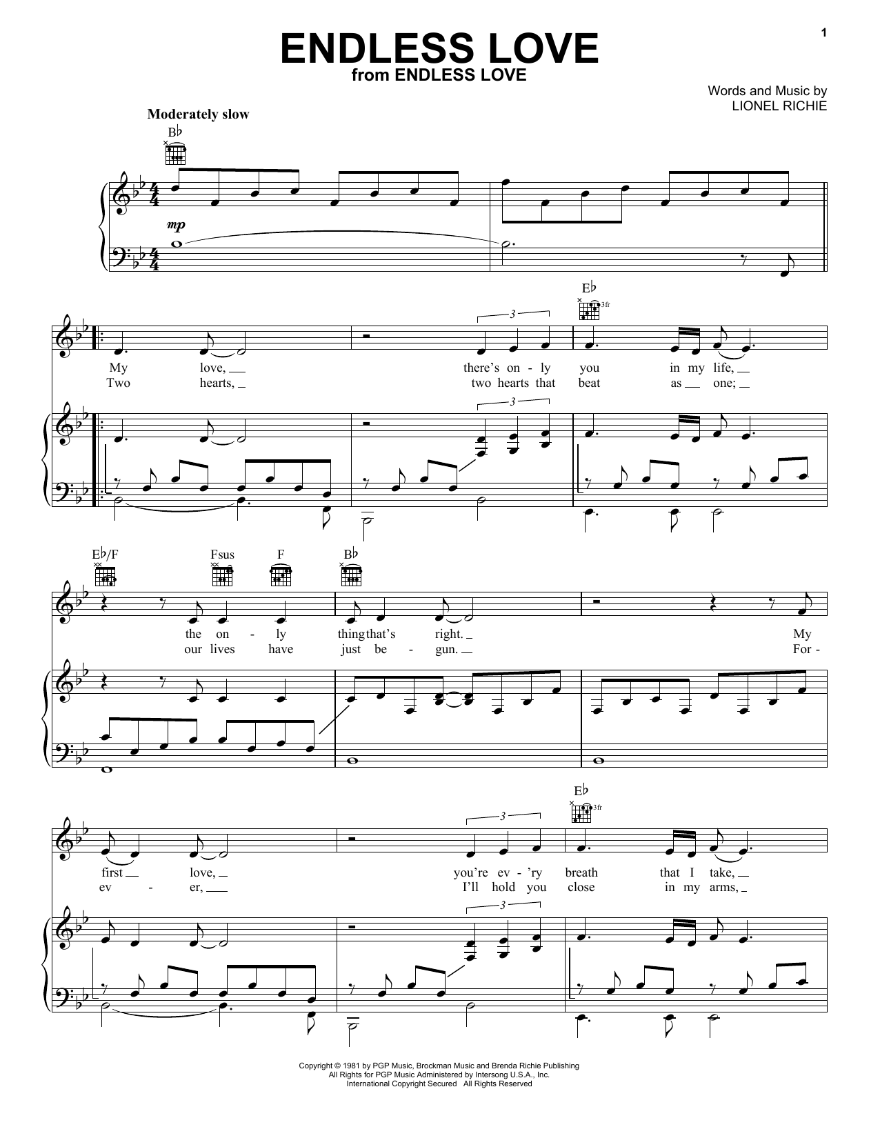 Download Lionel Richie & Diana Ross Endless Love sheet music and printable PDF score & Film and TV music notes