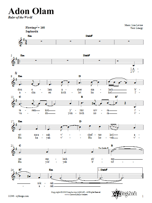 Download Lisa Levine Adon Olam sheet music and printable PDF score & Religious music notes