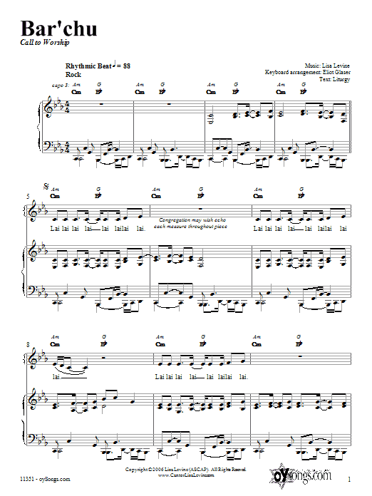 Download Lisa Levine Bar'chu sheet music and printable PDF score & Religious music notes