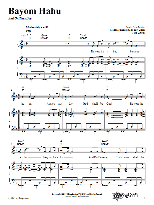 Download Lisa Levine Bayom Hahu sheet music and printable PDF score & Religious music notes