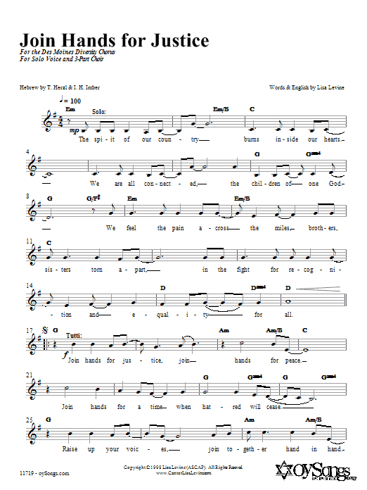 Download Lisa Levine Join Hands in Justice sheet music and printable PDF score & Religious music notes