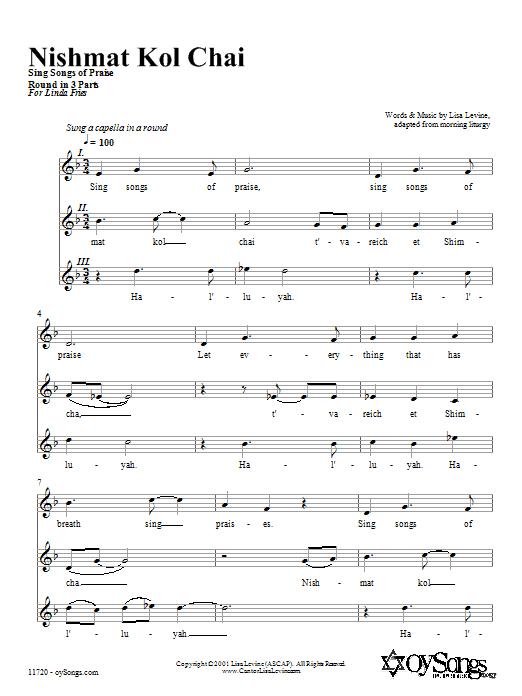 Download Lisa Levine Nishmat Kol Chai sheet music and printable PDF score & Religious music notes