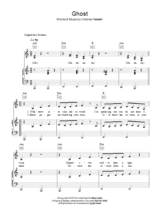 Download Little Boots Ghost sheet music and printable PDF score & Pop music notes