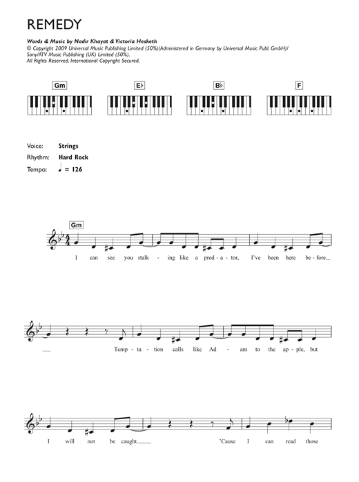 Download Little Boots Remedy sheet music and printable PDF score & Pop music notes
