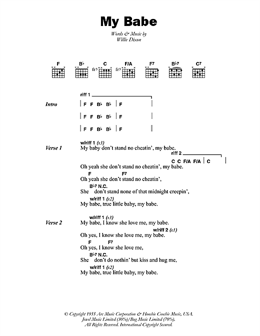 Download Little Walter My Babe sheet music and printable PDF score & Pop music notes