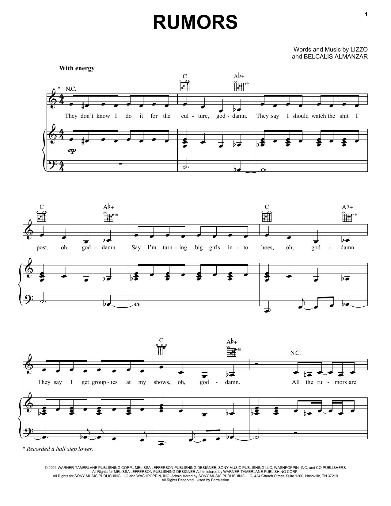Download Lizzo Rumors (feat. Cardi B) sheet music and printable PDF score & Pop music notes