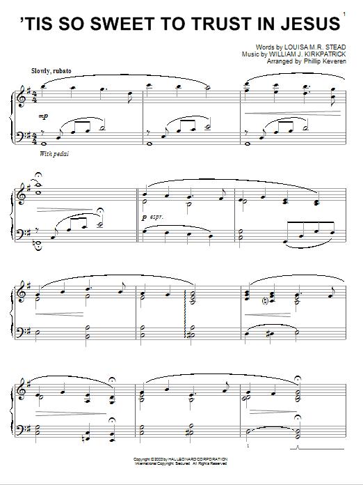 Download Louisa M.R. Stead 'Tis So Sweet To Trust In Jesus sheet music and printable PDF score & Folk music notes