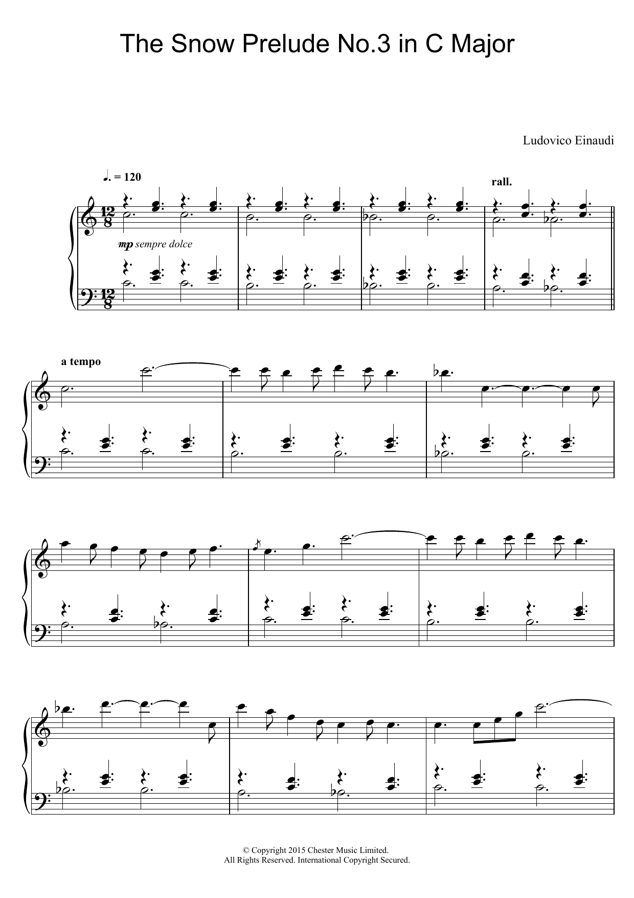 Download Ludovico Einaudi The Snow Prelude No. 3 In C Major sheet music and printable PDF score & Classical music notes