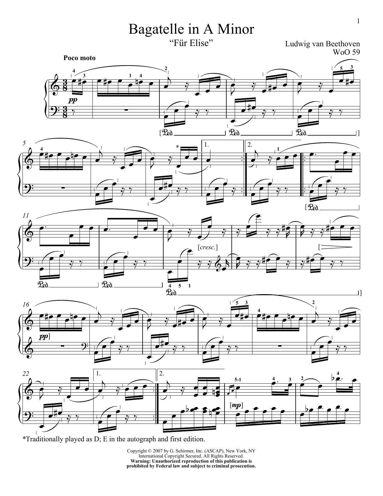 Download Ludwig van Beethoven Bagatelle In A Minor
