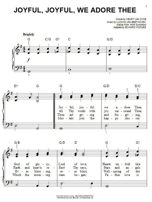 Download Ludwig van Beethoven Joyful, Joyful, We Adore Thee sheet music and printable PDF score & Classical music notes