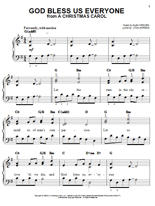 Download Lynn Ahrens God Bless Us Everyone (from A Christmas Carol) sheet music and printable PDF score & Film and TV music notes