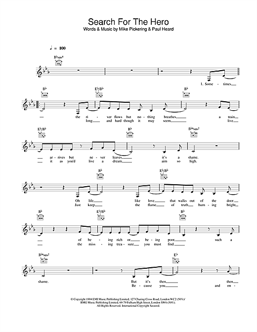 Download M People Search For The Hero sheet music and printable PDF score & Pop music notes